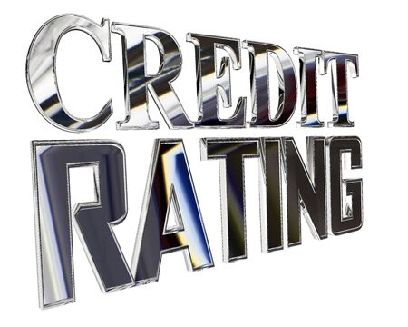 Silver text credit rating on a white background