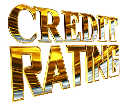 Gold text credit rating on a white background Stock Photo
