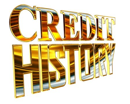 Gold credit history text on a white background