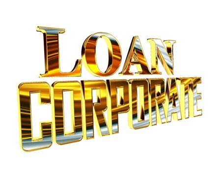 Golden Text corporate loan on a white background