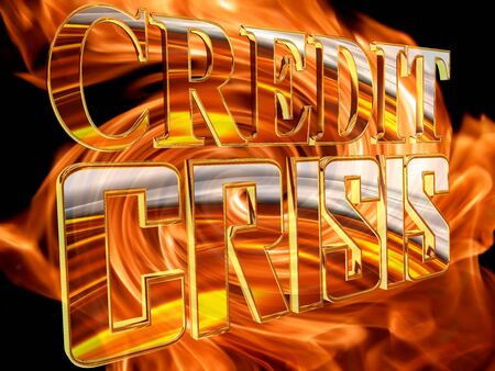 Gold credit crunch text on fire background