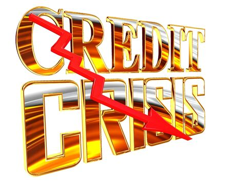 Gold credit crunch text on a white background Stock Photo