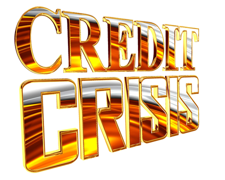stock predictions: Gold credit crunch text on a white background Stock Photo