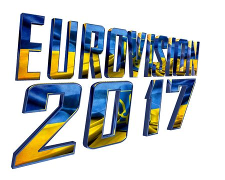 summarize: 3d illustration. The text of Eurovision 2017 with the countrys flag texture taking part on a white background