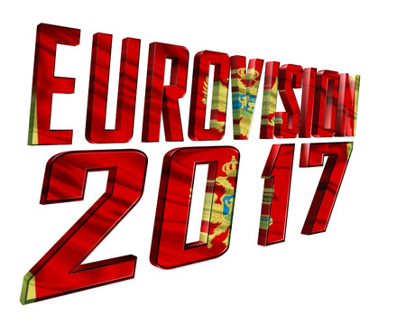 3d illustration. The text of Eurovision 2017 with the countrys flag texture taking part on a white background