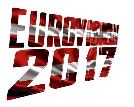 music 3d: 3d illustration. The text of Eurovision 2017 with the countrys flag texture taking part on a white background