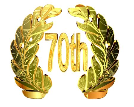 Gold emblem of the 70th anniversary on a white background