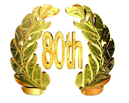 80th: Gold emblem of the 80th anniversary on a white background