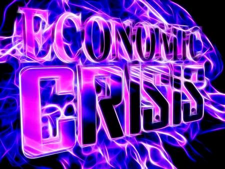 stock predictions: Image of the economic crisis in neon light Stock Photo