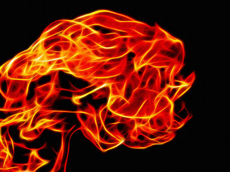 Image of a bright flame of a flame in a neon light on a black background Stock Photo