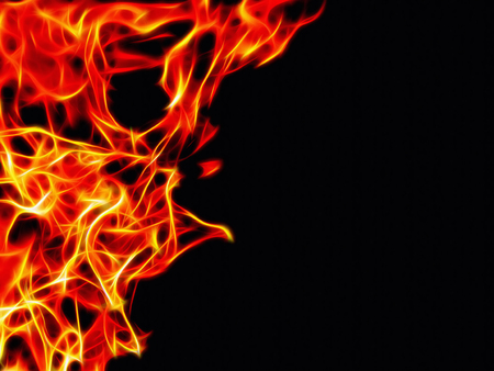 Image of a bright flame of fire on a black background in neon light Stock Photo