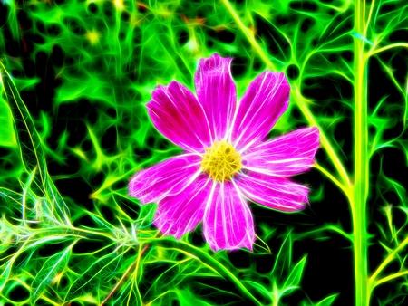 3d illustration. Beautiful spring flowers in neon light