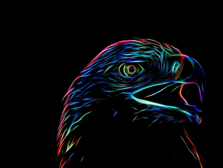 3d illustration. Silhouette of the image of an eagle in neon light