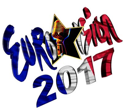 jurado: 3d illustration. The text of Eurovision 2017 with the countrys flag texture taking part on a white background