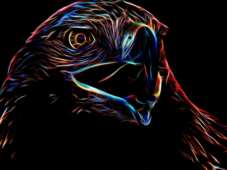 Silhouette of an eagle in neon light