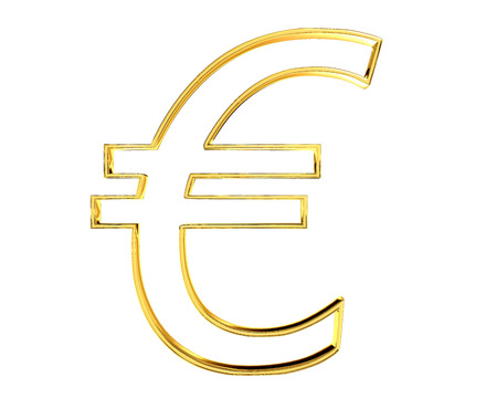 Gold currency euro symbol on white background