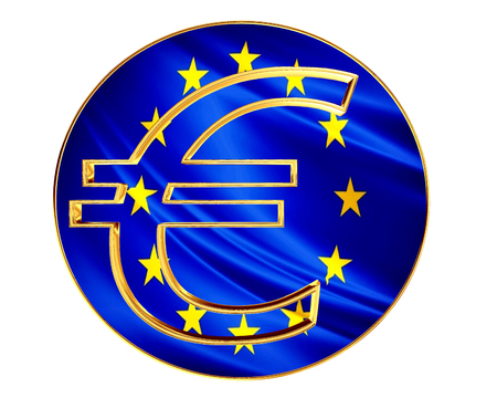 Gold currency euro symbol with the flag of the country on a white background Stock Photo
