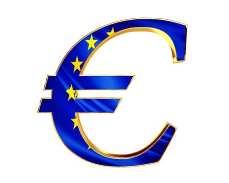 Gold Currency Euro Symbol With The Flag Of The Country On A White