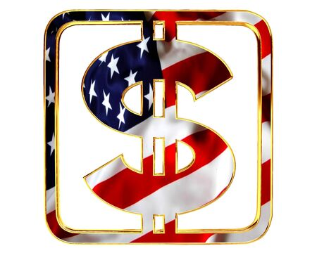 Golden dollar symbol with a flag of the country on a white background Stock Photo