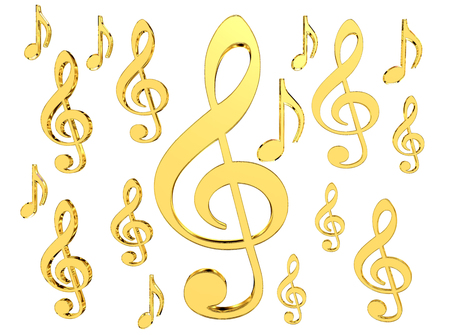 Sign of gold musical note on a white background