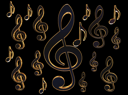 Sign of gold musical note on a black background Stock Photo