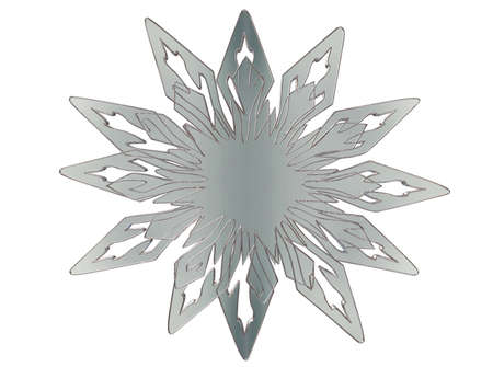 detailed image: 3d illustration. Silver snowflake on white background