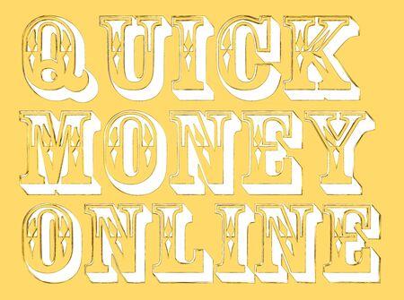 make money fast: Gold text quick money on white background Stock Photo