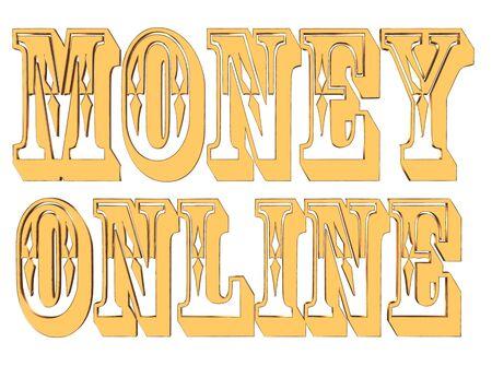 make money fast: Gold text money online on white background