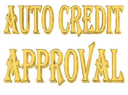 achievement concept: Gold text auto credit approved on white background