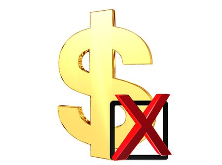 negatively: Gold dollar symbol with a sign negatively on a white background