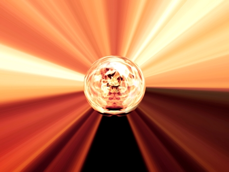 Abstract image of a ball in space with multicolored rays