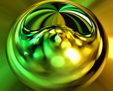 3d rendering. Abstract image of a ball in space with multicolored rays