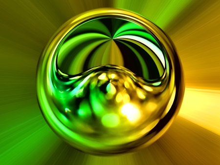 damaged roof: 3d rendering. Abstract image of a ball in space with multicolored rays