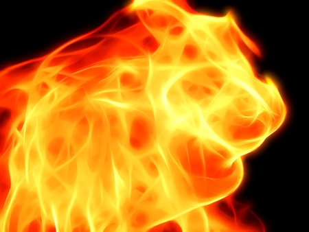 A bright fiery flame on a black background in neon light