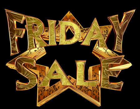 3d rendering. Text  Friday sale on a golden star on a black background