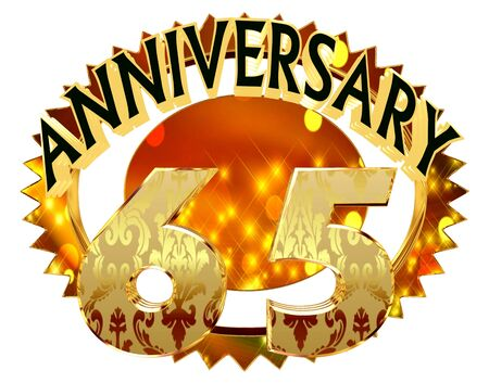 3d rendering. Text anniversary with a date of 65 years on a brilliant circle on a white background