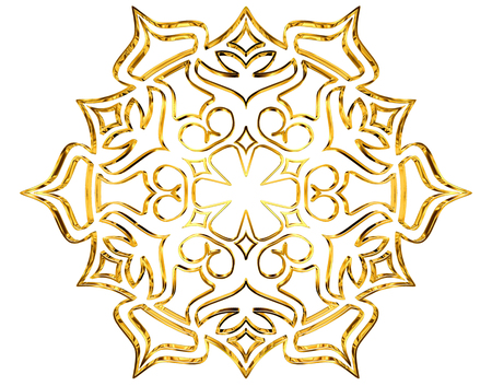 3d rendering. Winter snowflake on a white background Stock Photo