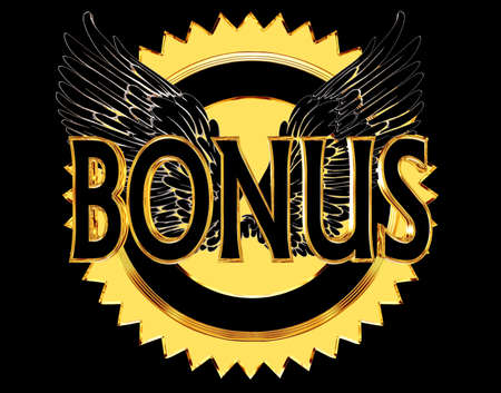 3d rendering. Text bonus with wings on a golden circle on a black background