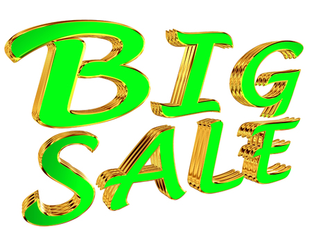 3d rendering. Big sale text on white background
