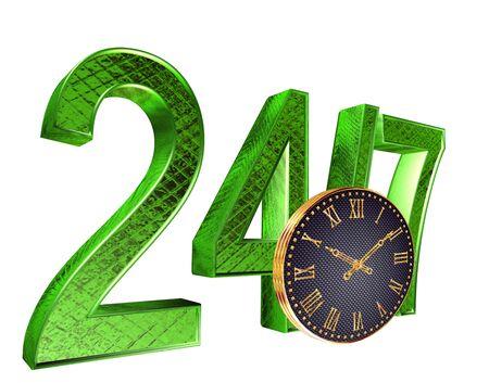 3D-rendering. Tekst 24 uur 7 dagen met een gouden horloge op een witte achtergrond
