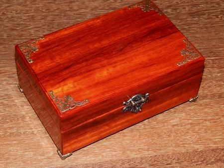Handmade mahogany jewelry box closeup