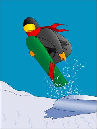snowboarder: Snowboarder jumping Illustration