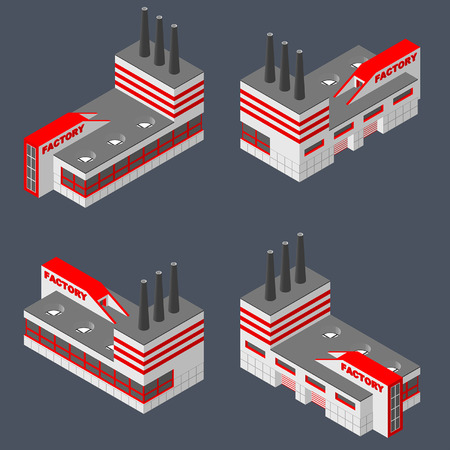 power projection: Factory icon set. Illustration