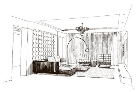 Woonkamer interieur schets.