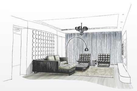 sketch: Living room interior sketch. Illustration