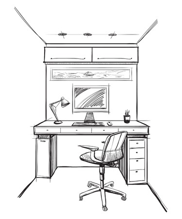 Home office interior sketch.