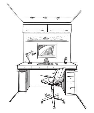 furniture idea: Home office interior sketch.