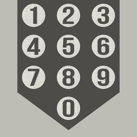 six objects: Numbers set. Vector. Illustration
