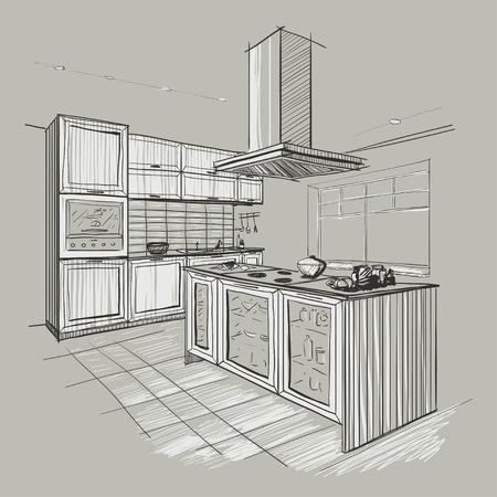 Interior sketch of modern kitchen with island. Vector