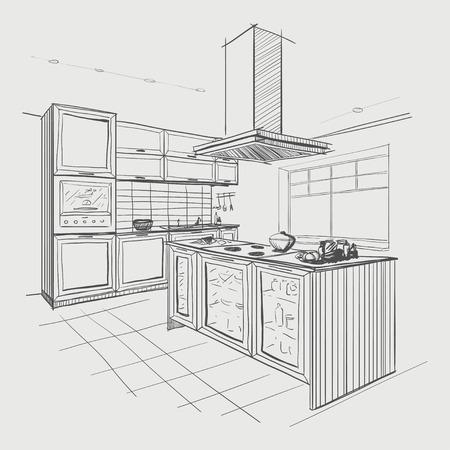 Interieur schets van de moderne keuken met eiland.